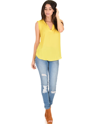Lyss Loo Queen of Hearts Deep V-Neck Sheer Yellow Blouse Top - Clothing Showroom