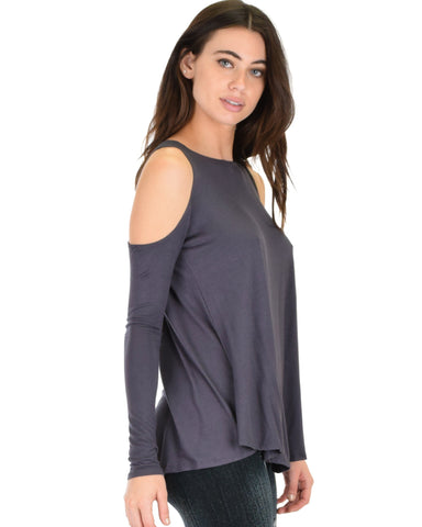 Lyss Loo In Good Company Cold Shoulder Charcoal Long Sleeve Top - Clothing Showroom