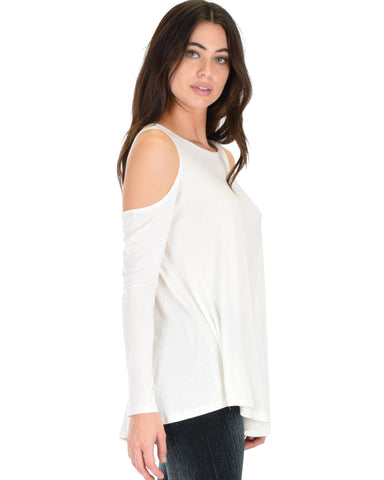 Lyss Loo In Good Company Cold Shoulder Ivory Long Sleeve Top - Clothing Showroom