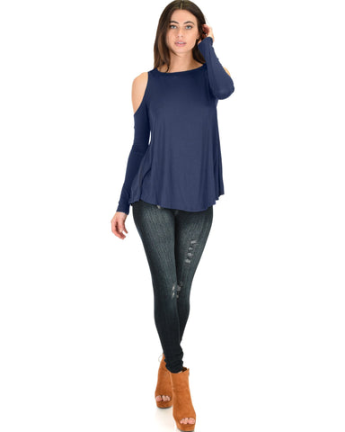 Lyss Loo In Good Company Cold Shoulder Navy Long Sleeve Top - Clothing Showroom