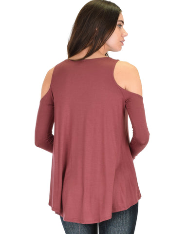 Lyss Loo In Good Company Cold Shoulder Marsala Long Sleeve Top - Clothing Showroom