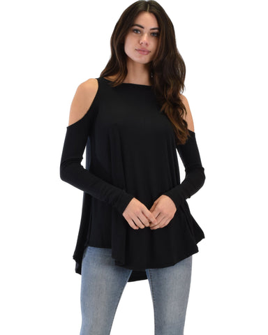 Lyss Loo In Good Company Ribbed Cold Shoulder Black Long Sleeve Top - Clothing Showroom
