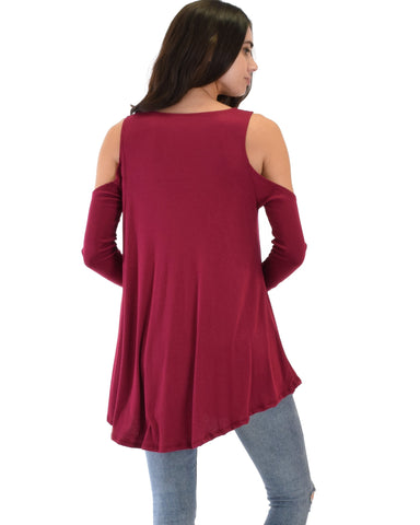 Lyss Loo In Good Company Ribbed Cold Shoulder Burgundy Long Sleeve Top - Clothing Showroom