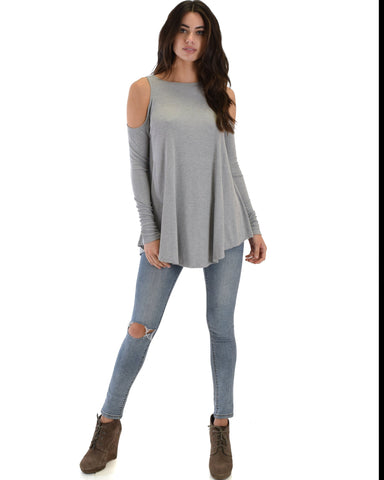 Lyss Loo In Good Company Ribbed Cold Shoulder Grey Long Sleeve Top - Clothing Showroom