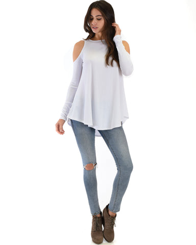 Lyss Loo In Good Company Ribbed Cold Shoulder Ivory Long Sleeve Top - Clothing Showroom