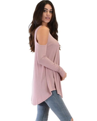 Lyss Loo In Good Company Ribbed Cold Shoulder Mauve Long Sleeve Top - Clothing Showroom