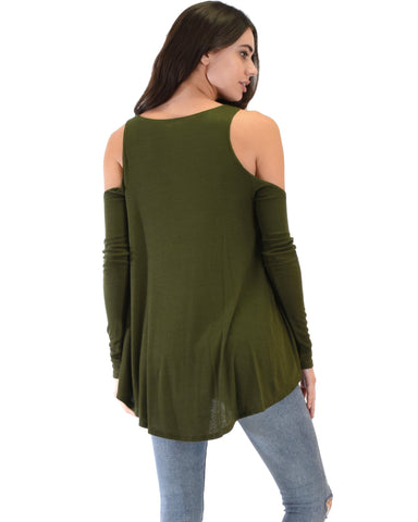 Lyss Loo In Good Company Ribbed Cold Shoulder Olive Long Sleeve Top - Clothing Showroom