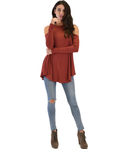 Lyss Loo In Good Company Ribbed Cold Shoulder Rust Long Sleeve Top - Clothing Showroom