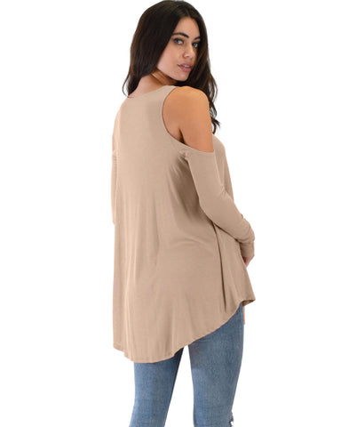 Lyss Loo In Good Company Ribbed Cold Shoulder Taupe Long Sleeve Top - Clothing Showroom