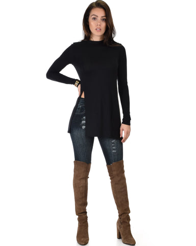Lyss Loo Swap My Options Long Sleeve Slit Black Tunic Top - Clothing Showroom