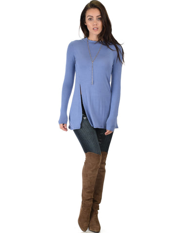 Lyss Loo Swap My Options Long Sleeve Slit Blue Tunic Top - Clothing Showroom
