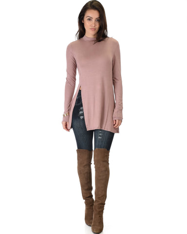 Lyss Loo Swap My Options Long Sleeve Slit Mauve Tunic Top - Clothing Showroom