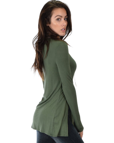 Lyss Loo Swap My Options Long Sleeve Slit Olive Tunic Top - Clothing Showroom