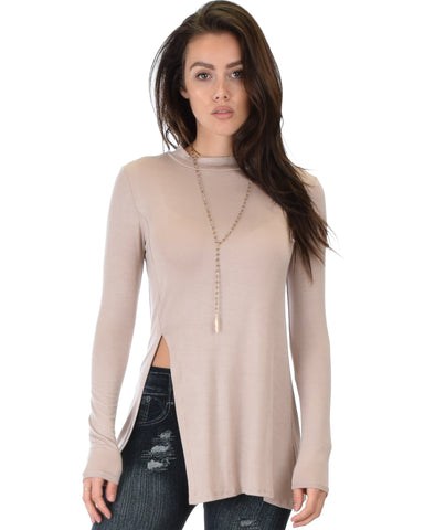 Lyss Loo Swap My Options Long Sleeve Slit Taupe Tunic Top - Clothing Showroom