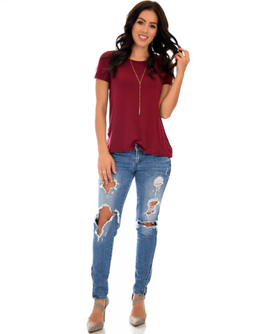 Lyss Loo The New Classic Cuffed Sleeve Burgundy Tunic Top - Clothing Showroom