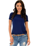 Lyss Loo The New Classic Cuffed Sleeve Navy Tunic Top - Clothing Showroom
