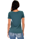 Lyss Loo The New Classic Cuffed Sleeve Teal Tunic Top - Clothing Showroom