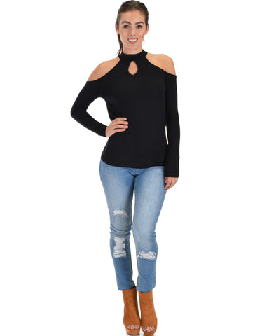Lyss Loo Shy Sweetheart Long Sleeve Black Cold Shoulder Top - Clothing Showroom