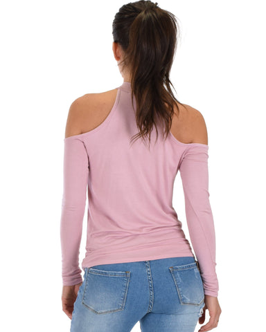 Lyss Loo Shy Sweetheart Long Sleeve Mauve Cold Shoulder Top - Clothing Showroom