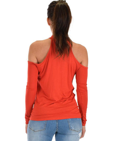 Lyss Loo Shy Sweetheart Long Sleeve Rust Cold Shoulder Top - Clothing Showroom