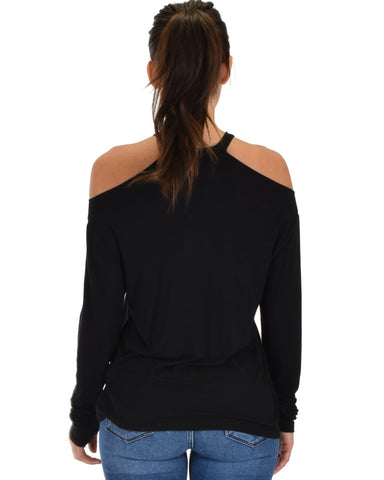 Lyss Loo Filled With Smiles Long Sleeve Black Cold Shoulder Top - Clothing Showroom
