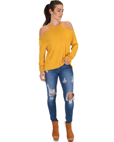 Lyss Loo Filled With Smiles Long Sleeve Mustard Cold Shoulder Top - Clothing Showroom