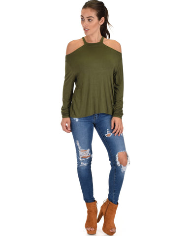 Lyss Loo Filled With Smiles Long Sleeve Olive Cold Shoulder Top - Clothing Showroom
