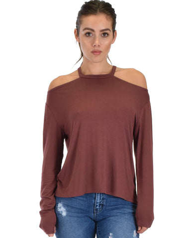 Lyss Loo Filled With Smiles Long Sleeve Marsala Cold Shoulder Top - Clothing Showroom