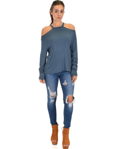 Lyss Loo Filled With Smiles Long Sleeve Teal Cold Shoulder Top - Clothing Showroom