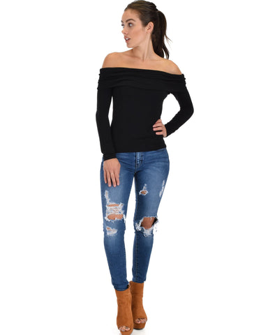 Lyss Loo Bold Move Off The Shoulder Black Long Sleeve Top - Clothing Showroom