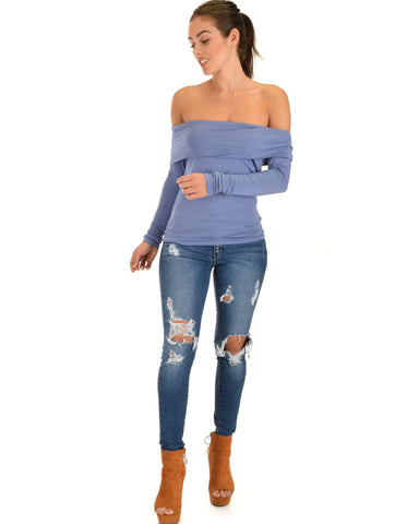 Lyss Loo Bold Move Off The Shoulder Blue Long Sleeve Top - Clothing Showroom