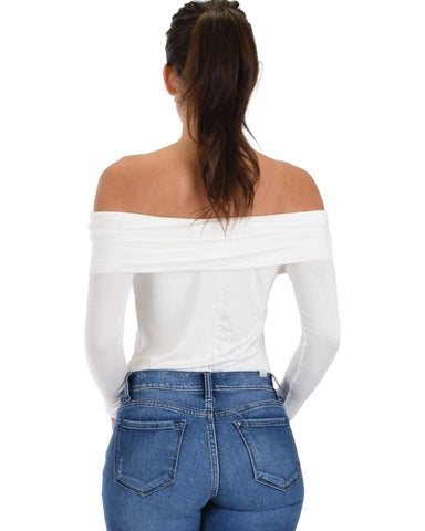 Lyss Loo Bold Move Off The Shoulder Ivory Long Sleeve Top - Clothing Showroom
