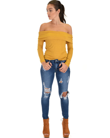 Lyss Loo Bold Move Off The Shoulder Mustard Long Sleeve Top - Clothing Showroom