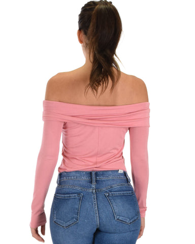 Lyss Loo Bold Move Off The Shoulder Pink Long Sleeve Top - Clothing Showroom