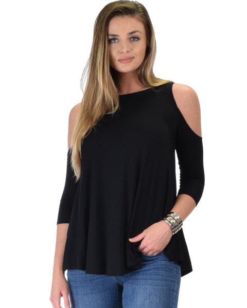 Lyss Loo In Good Company Cold Shoulder Black 3/4 Sleeve Top - Clothing Showroom