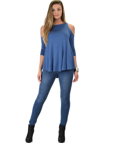 Lyss Loo In Good Company Cold Shoulder Blue 3/4 Sleeve Top - Clothing Showroom