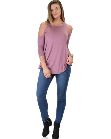 Lyss Loo In Good Company Cold Shoulder Mauve 3/4 Sleeve Top - Clothing Showroom