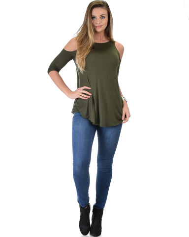 Lyss Loo In Good Company Cold Shoulder Olive 3/4 Sleeve Top - Clothing Showroom
