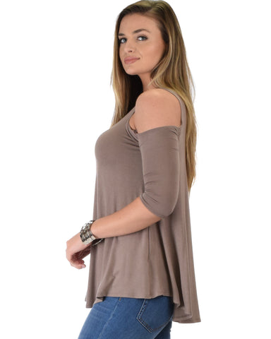 Lyss Loo In Good Company Cold Shoulder Taupe 3/4 Sleeve Top - Clothing Showroom