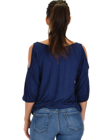 Lyss Loo I Feel Good Cold Shoulder Navy Cinched Top - Clothing Showroom