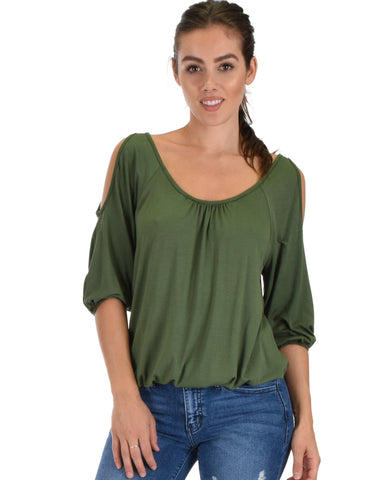 Lyss Loo I Feel Good Cold Shoulder Olive Cinched Top - Clothing Showroom