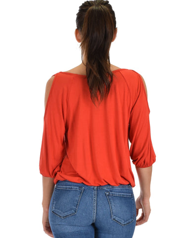 Lyss Loo I Feel Good Cold Shoulder Rust Cinched Top - Clothing Showroom