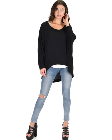 Lyss Loo Light Weight Camille Spring Black Sweater Top - Clothing Showroom