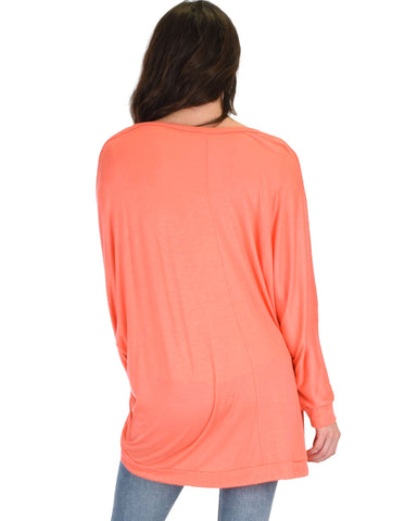 Lyss Loo Light Weight Camille Spring Coral Sweater Top - Clothing Showroom