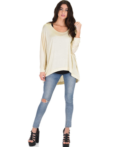Lyss Loo Light Weight Camille Spring Taupe Sweater Top - Clothing Showroom
