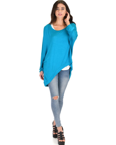 Lyss Loo Light Weight Camille Spring Teal Sweater Top - Clothing Showroom
