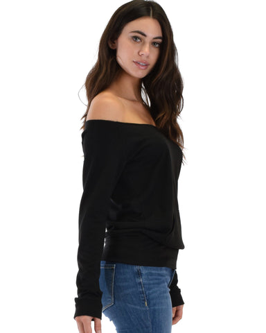 Lyss Loo Dreamy Dancer Wide Neck Black Sweatshirt Top - Clothing Showroom