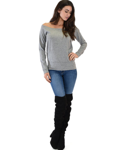 Lyss Loo Dreamy Dancer Wide Neck Grey Sweatshirt Top - Clothing Showroom
