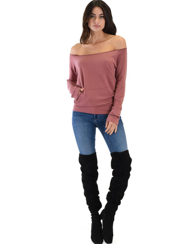 Lyss Loo Dreamy Dancer Wide Neck Marsala Sweatshirt Top - Clothing Showroom