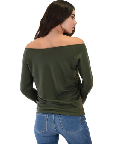 Lyss Loo Dreamy Dancer Wide Neck Olive Sweatshirt Top - Clothing Showroom